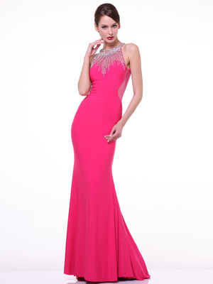 JC4179 Encrusted Halter Neck Formal Dress with Back Panel, Fuchsia