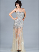 Dazzling Champagne and Silver Prom Dress