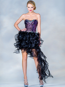 Sequin Bodice Short Prom Dress with Train