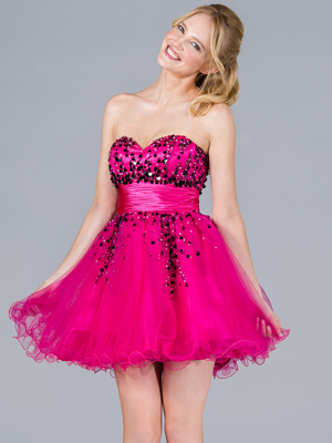 JC809 Sequins and Beads Short Prom Dress, Fuschia