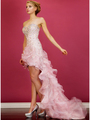 JC8101 Baby Pink High Low Train Prom Dress - Baby Pink, Front View Thumbnail