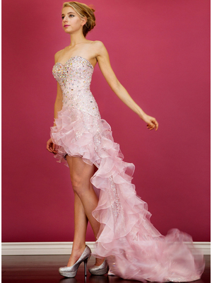 JC8101 Baby Pink High Low Train Prom Dress, Baby Pink