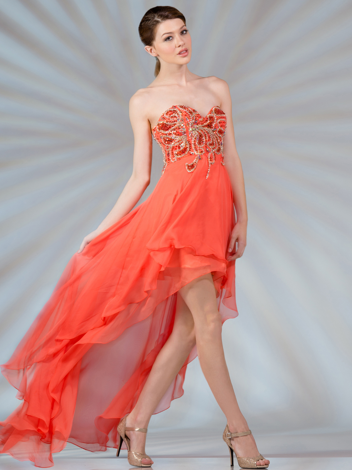 Coral High Low Bridesmaid Dress