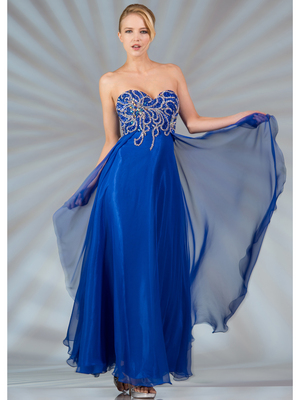 JC8111 Beaded Chiffon Evening Dress, Royal