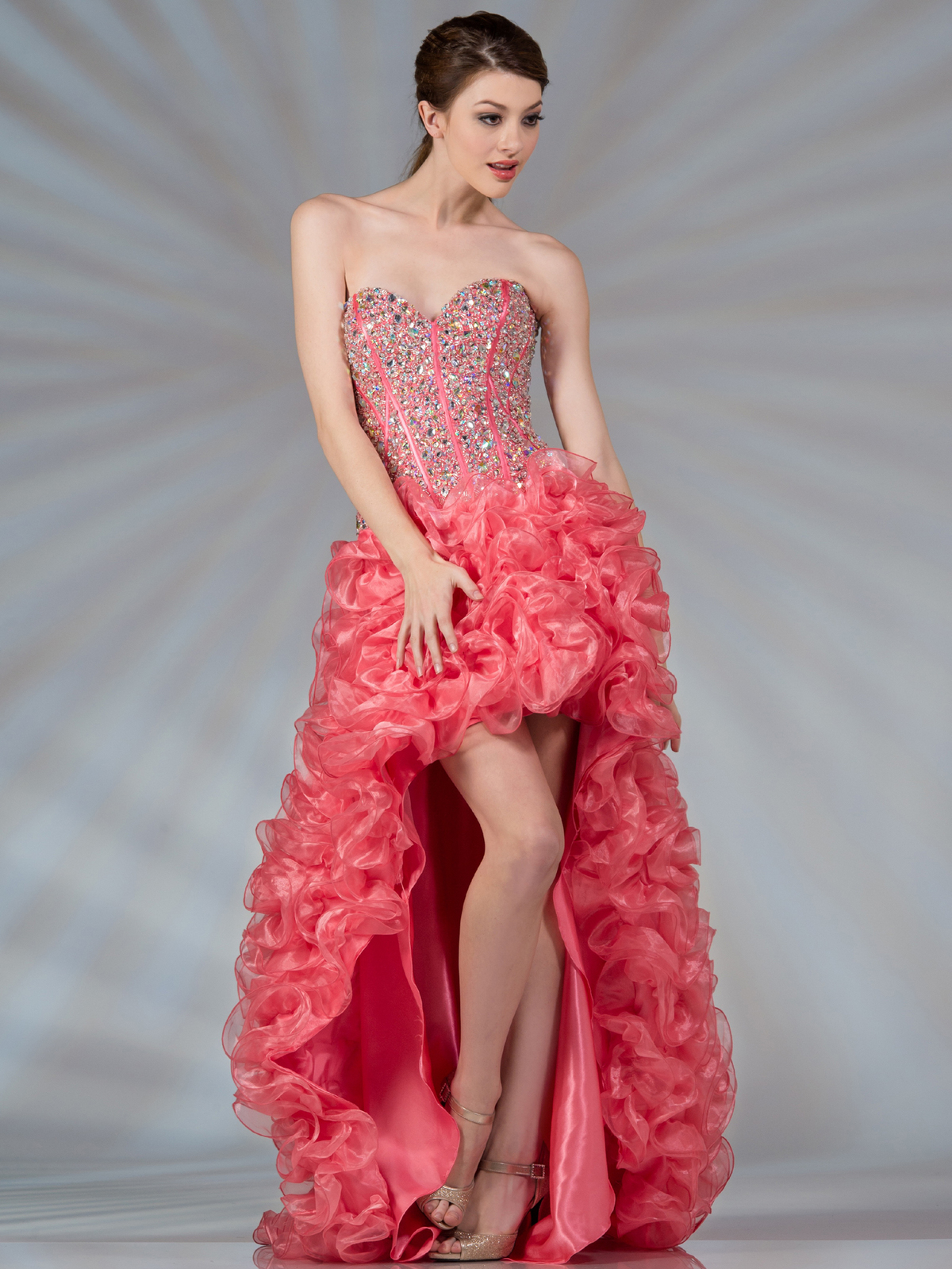 Coral High Low Corset Inspired Prom Dress | Sung Boutique L.A.