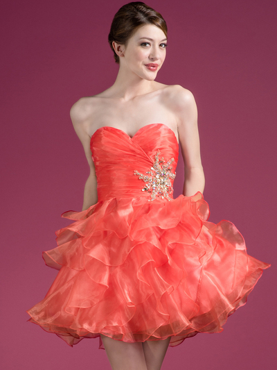 JC822 Sweetheart Layered Cocktail Dress - Coral, Front View Medium