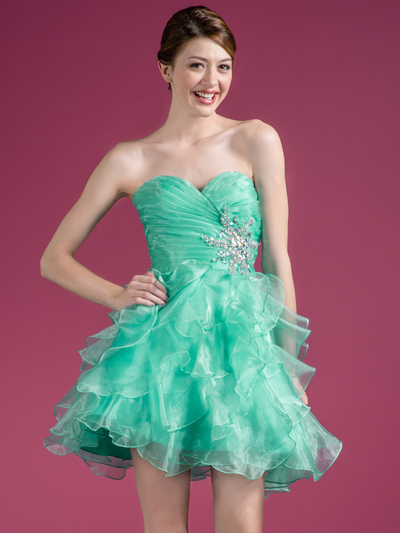JC822 Sweetheart Layered Cocktail Dress - Mint, Front View Medium