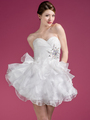 JC822 Sweetheart Layered Cocktail Dress - Off White, Front View Thumbnail