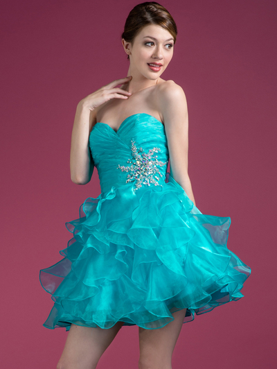 JC822 Sweetheart Layered Cocktail Dress - Turquoise, Front View Medium