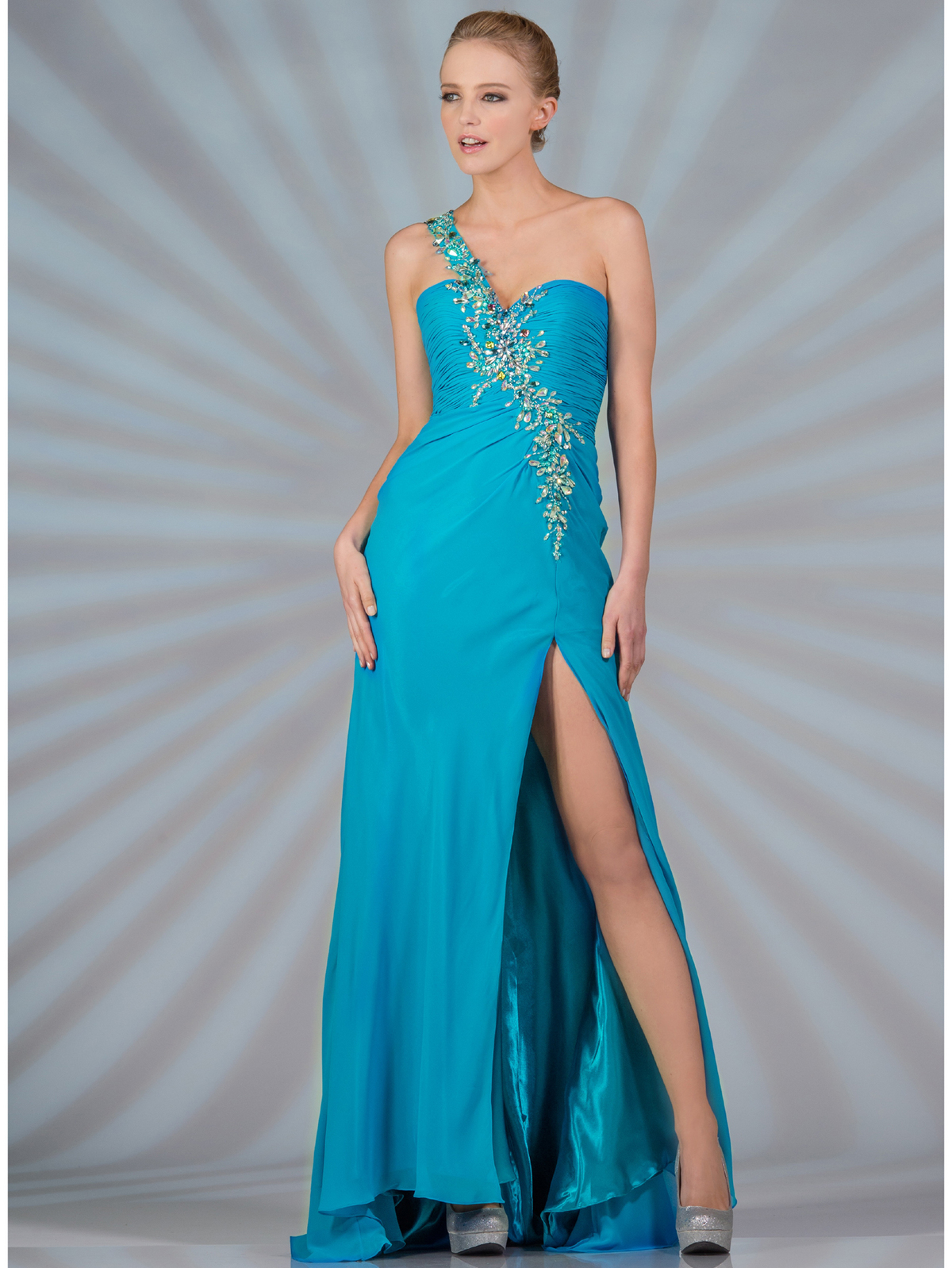 Jeweled and Beaded One Shoulder Prom Dress - Sung Boutique L.A.
