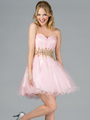 JC870 Jeweled Waist Party Dress - Pink, Front View Thumbnail