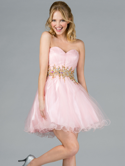JC870 Jeweled Waist Party Dress - Pink, Front View Medium