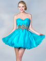 JC870 Jeweled Waist Party Dress - Turquoise, Front View Thumbnail