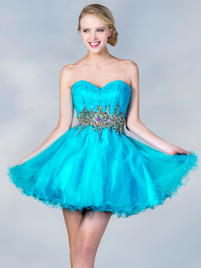 JC870 Jeweled Waist Party Dress - Turquoise, Front View Medium
