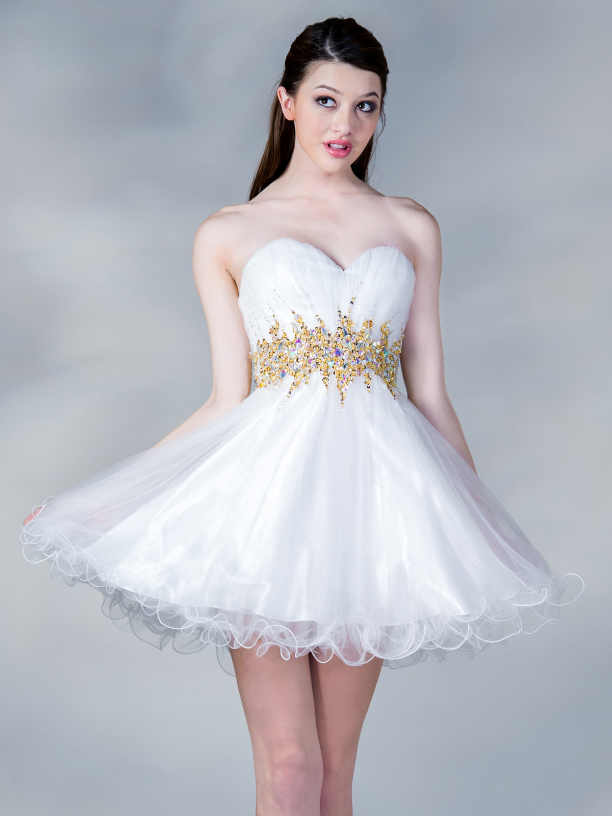 White dress cocktail party -  Jc870 Jeweled Waist Party Dress White Gold Front View Medium