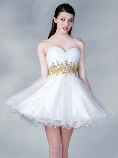 JC870 Jeweled Waist Party Dress - White Gold, Front View Medium