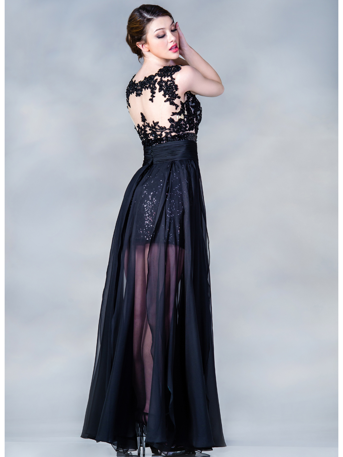 Black and Nude Beaded Evening Dress | Sung Boutique L.A.