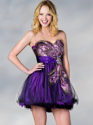 JC882 Peacock Cocktail Dress, Purple