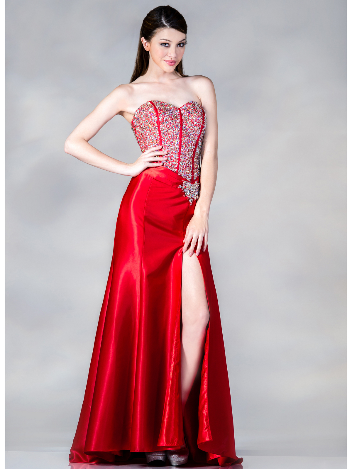 Wedding Corset Prom Dresses jeweled corset prom dress sung boutique l a jc885 red front view medium