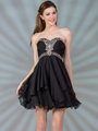JC889 Beaded Chiffon Cocktail Dress - Black, Front View Thumbnail