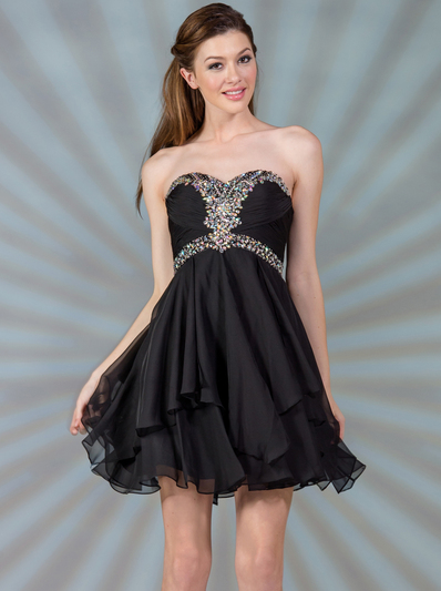 JC889 Beaded Chiffon Cocktail Dress - Black, Front View Medium