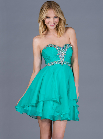 JC889 Beaded Chiffon Cocktail Dress - Jade, Front View Medium
