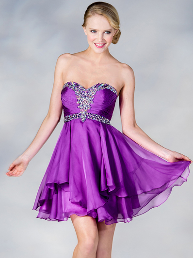 JC889 Beaded Chiffon Cocktail Dress - Light Purple, Front View Medium