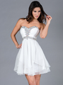 JC889 Beaded Chiffon Cocktail Dress - Off White, Front View Thumbnail