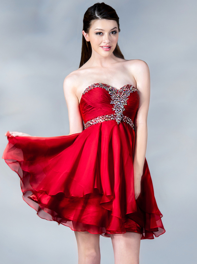 JC889 Beaded Chiffon Cocktail Dress - Red, Front View Medium