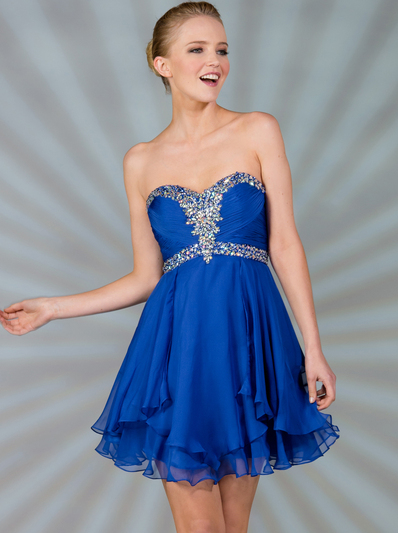 JC889 Beaded Chiffon Cocktail Dress - Royal, Front View Medium