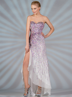 JC9001 Sequin Pattern Prom Dress, Ivory