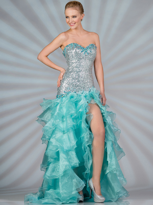 JC9002 Pastel Sequin and Shimmer High Low Prom Dress, Mint