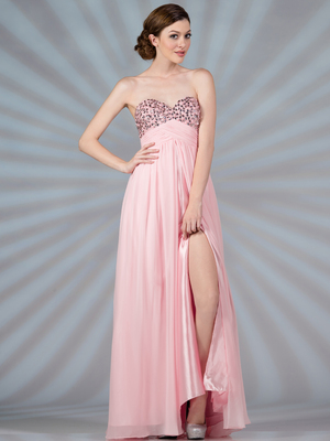 JC9003 Baby Pink Chiffon Evening Dress, Baby Pink