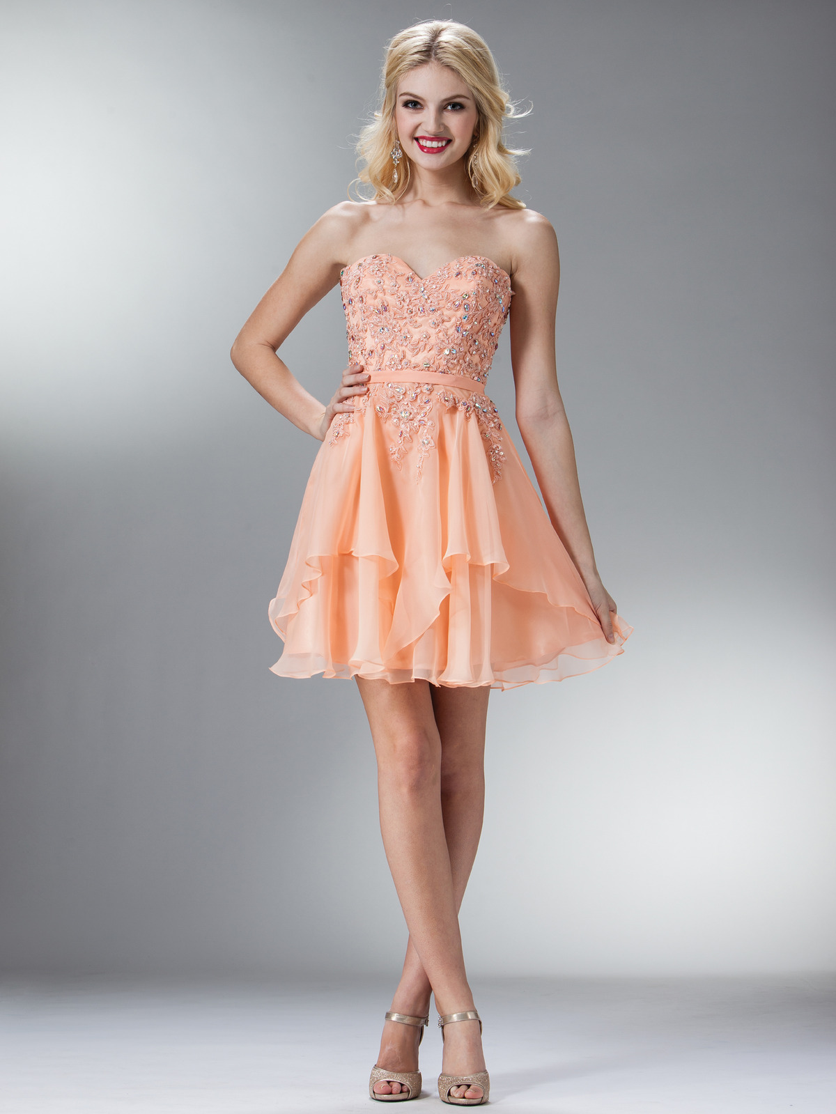 Sweetheart Embellish Bodice Homecoming Dress