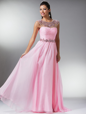 JC919 Illusion Neckline Ruch Bodice Prom Dress, Pink