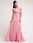 Floral Embroidered Bodice Halter Prom Dress