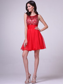 JC940 Beaded Sleeveless Short Prom Dress       , Red