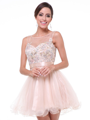JC941 Embroidery Illusion Sweetheart Short Prom Dress   , Champagne