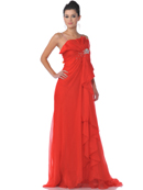 Red Sequins Strap Chiffon Evening Dress with Sparkling Jewel