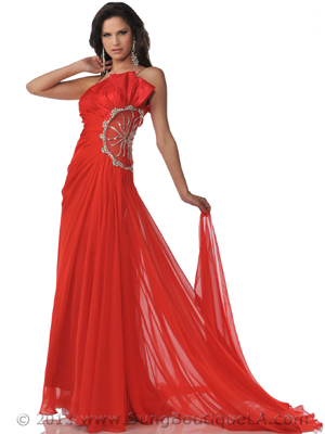 K21116 Red Chiffon Evening Dress with Sheer Panel, Red