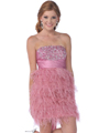 K21124  Rose Pink Sequin Top Homecoming Dress with Feather Skirt - Front Image