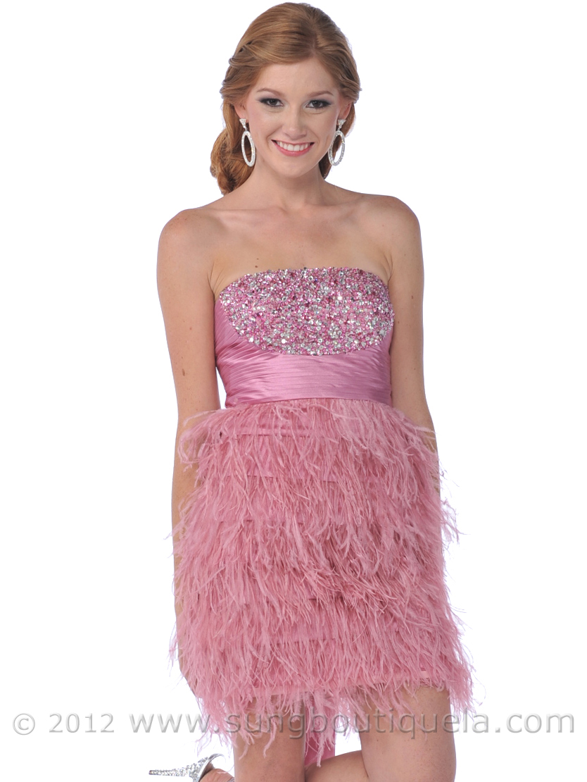 Rose Pink Sequin Top Homecoming Dress with Feather Skirt | Sung ...