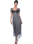 Charcoal Mother of the Bride Pleated Evening Dress