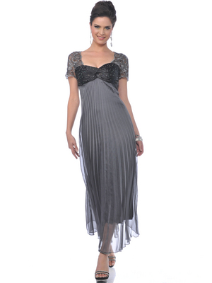 Charcoal Mother of the Bride Pleated Evening Dress - Front Image