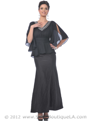 M1003 Black Mother of the Bride Chiffon Top Evening Dress, Black