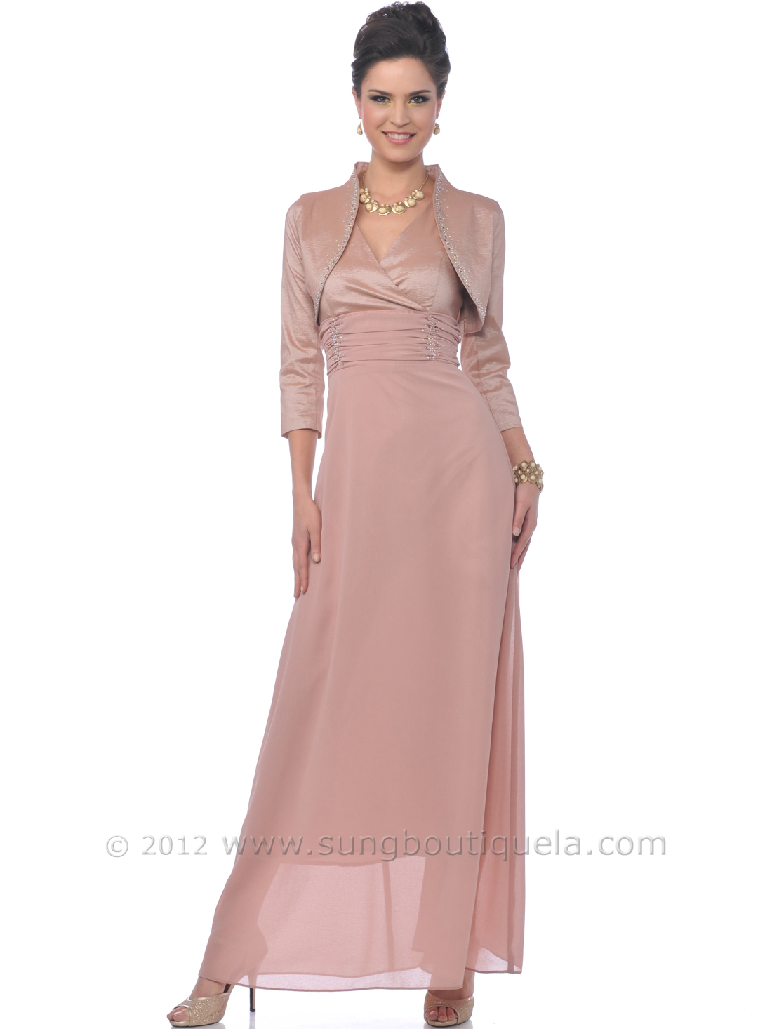 Dusty Rose Mob Evening Gown With Bolero Sung Boutique L A