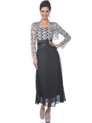 Black/Silver MOB Evening Dress with Lace Bolero