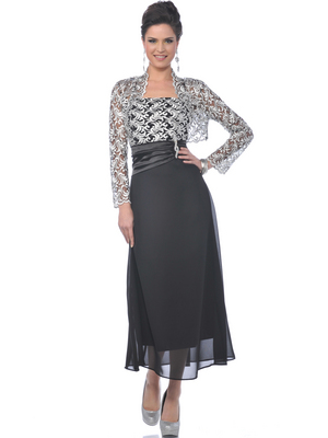Black/Silver MOB Evening Dress with Lace Bolero - Front Image