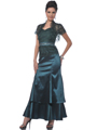 Teal Green Lace Top Evening Dress with Bolero - Front Image