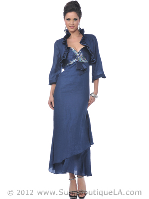 Navy Taffeta Evening Dress with Bolero - Front Image